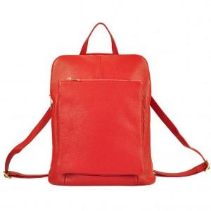 Kožený dámský batoh Vera Pell Lindes - červená