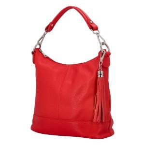 Dámská crossbody kožená kabelka Delami Sara - červená