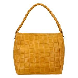 Dámská kožená kabelka Delami Chiara - žlutá