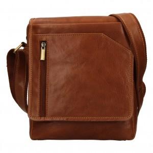 Pánská kožená taška přes rameno SendiDesign Ladis - koňak
