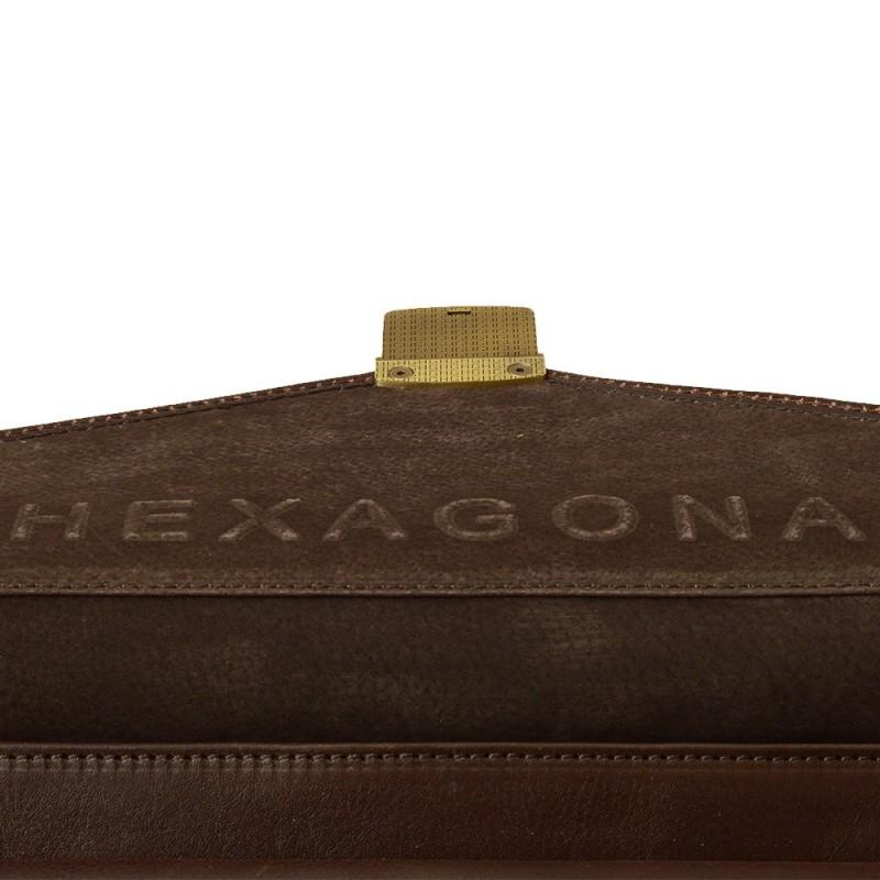 Celokožená pánská aktovka Hexagona 111006 - tmavě hnědá