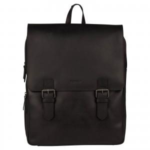 Trendy kožený batoh Burkely Amstr s powerbankou - černá