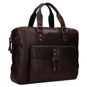 Pánská kožená taška na notebook Ashwood George - hnědá