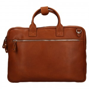 Pánská kožená taška na notebook Ashwood Oliver - koňak