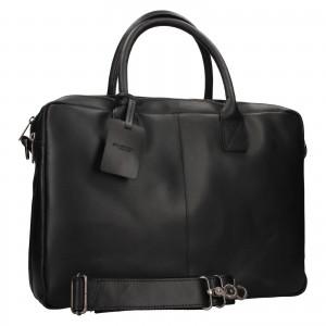 Kožená taška na notebook Burkely Taylor - černá