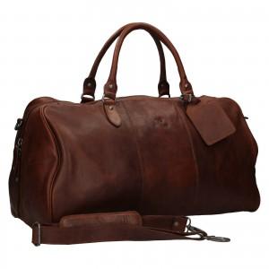 Pánská kožená cestovní taška Mustang Vojta - tmavě hnědá