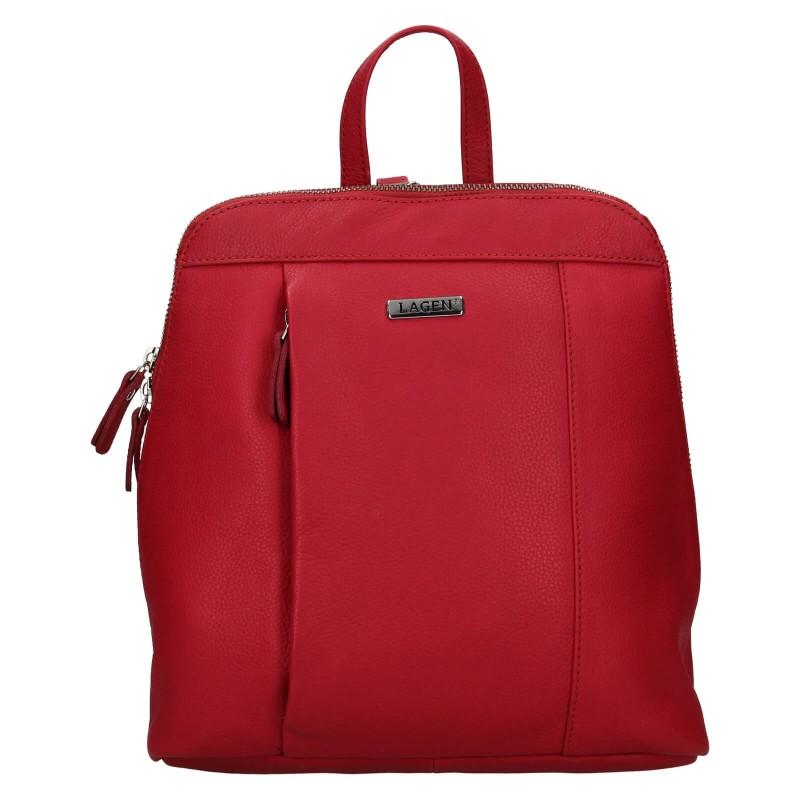 Dámský kožený batoh Lagen Karina - červená