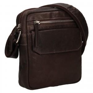 Pánská kožená taška přes rameno Lagen Jack - tmavě hnědá