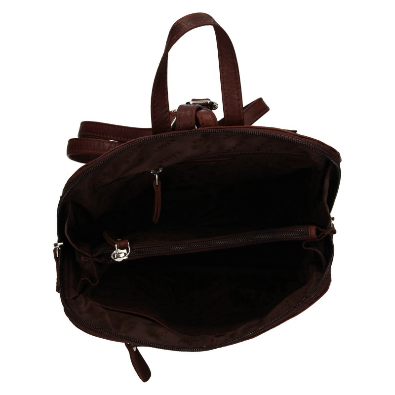 Dámský kožený batoh Lagen Eva - tmavě hnědá
