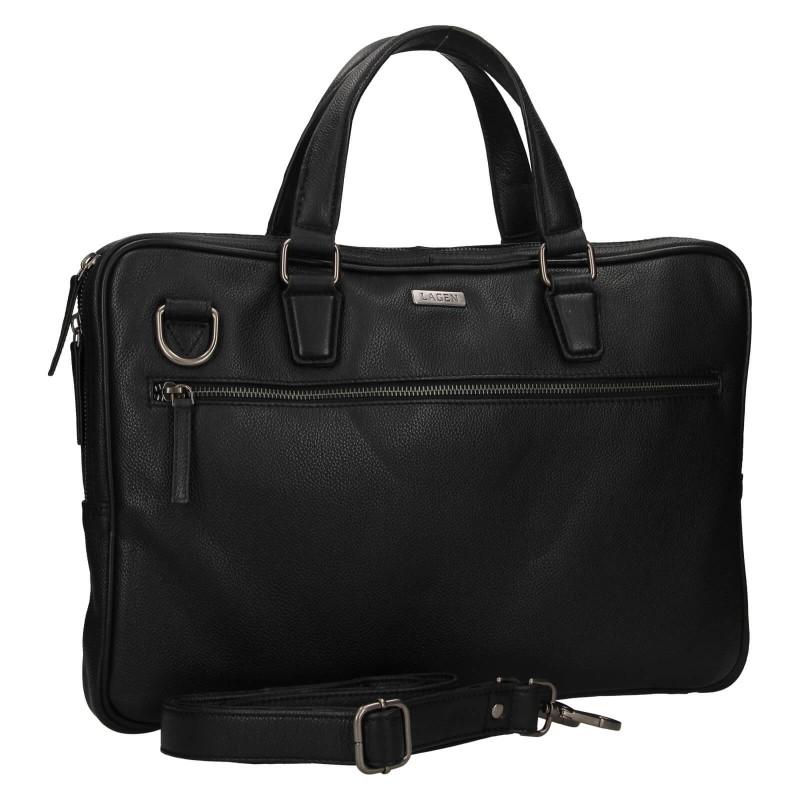 Pánská kožená business taška Lagen Daniel - černá