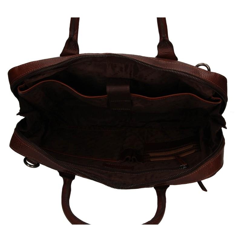 Pánská kožená business taška Lagen Daniel - hnědá
