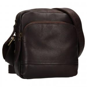 Pánská kožená taška přes rameno Ashwood Angel - tmavě hnědá