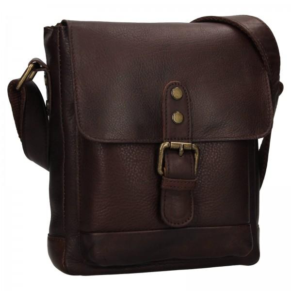 Pánská kožená taška přes rameno Ashwood Tom - tmavě hnědá