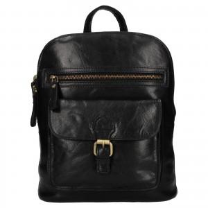 Elegantní dámský kožený batoh Ashwood Ninna - černá