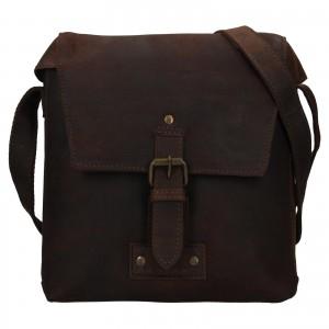 Pánská kožená taška přes rameno Ashwood Sam - tmavě hnědá