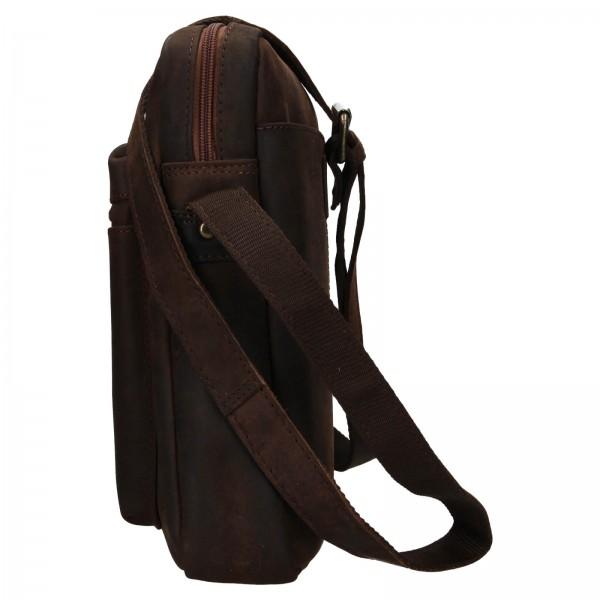 Pánská kožená taška přes rameno Ashwood Ryan - tmavě hnědá
