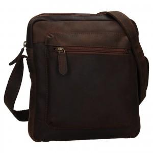 Pánská kožená taška přes rameno Ashwood Patrick - tmavě hnědá