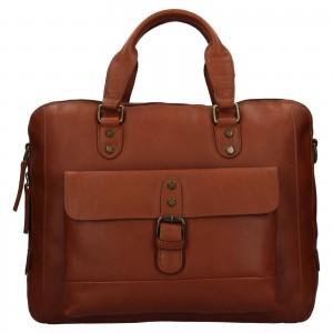 Pánská kožená taška na notebook Ashwood George - světle hnědá