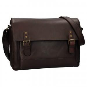 Pánská kožená taška na notebook Ashwood Noah - tmavě hnědá