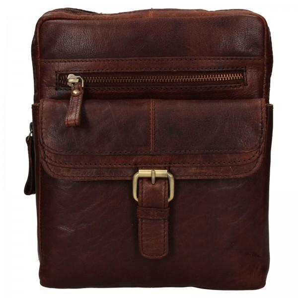 Pánská kožená taška přes rameno Ashwood Nicholas - tmavě hnědá