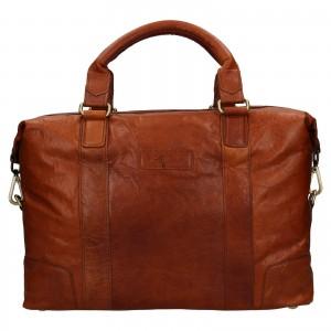 Pánská kožená taška na notebook Ashwood Ben - koňak
