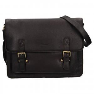 Pánská kožená taška přes rameno Ashwood Satls - tmavě hnědá