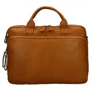Pánská kožená taška na notebook Ashwood Dios - koňak