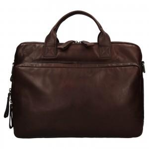 Pánská kožená taška na notebook Ashwood Dios - tmavě hnědá