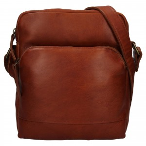 Pánská kožená taška přes rameno Ashwood Tommas - koňak