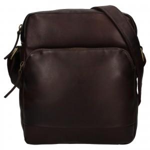 Pánská kožená taška přes rameno Ashwood Tommas - tmavě hnědá