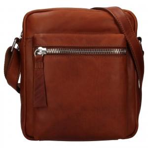 Pánská kožená taška přes rameno Ashwood Bertram - koňak