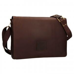Pánská kožená taška přes rameno Ashwood Pedro - tmavě hnědá
