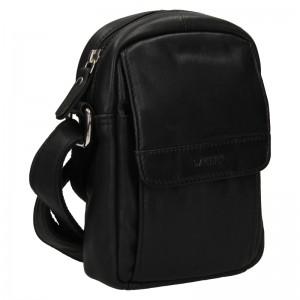 Menší pánská kožená taška přes rameno Lagen Lenis - černá