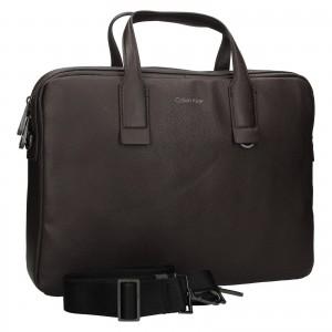 Pánská taška na notebook Calvin Klein Enrique - tmavě hnědá