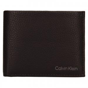 Pánská kožená peněženka Calvin Klein Delne - tmavě hnědá