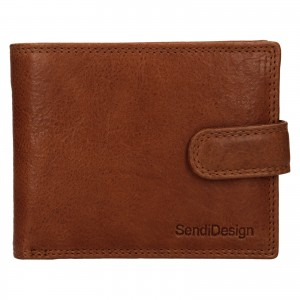 Pánská kožená peněženka SendiDesign Dowsn - koňak