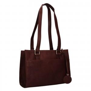 Menší dámská kožená kabelka Ashwood Compact - tmavě hnědá