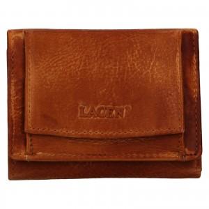 Dámská kožená slim peněženka Lagen Déborah - hnědá