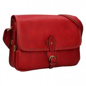 Kožená dámská crosbody kabelka Katana Greasy - tmavě červená
