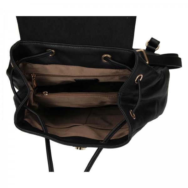 Elegantní dámský kožený batoh Hexagona Adina - černá