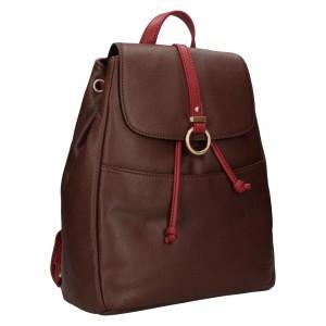 Elegantní dámský kožený batoh Hexagona Adina - tmavě hnědá