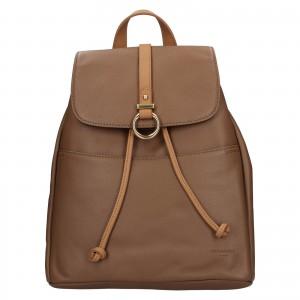 Elegantní dámský kožený batoh Hexagona Adina - hnědá