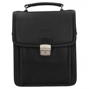 Pánská kožená taška přes rameno Hexagona Alnes - černá