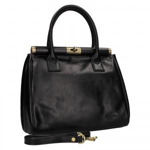 Dámská kožená kufříková kabelka Hexagona Hannas - černá
