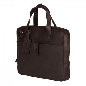 Kožená taška na notebook Burkely Monaco - tmavě hnědá