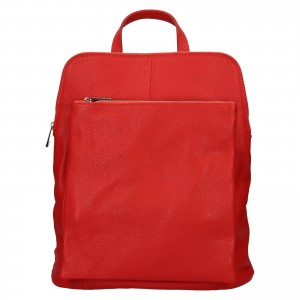 Kožený dámský batoh Unidax Marion - červená