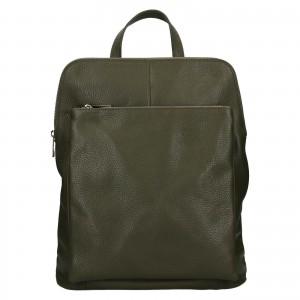 Kožený dámský batoh Unidax Marion - olivová