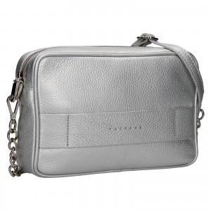 Trendy dámská kožená crossbody kabelka Facebag Ninals - stříbrná
