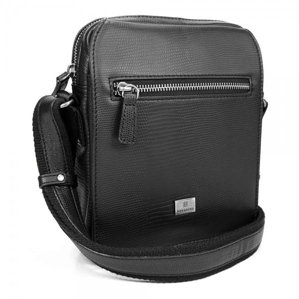 Pánská kožená taška přes rameno Hexagona 854019 - černá