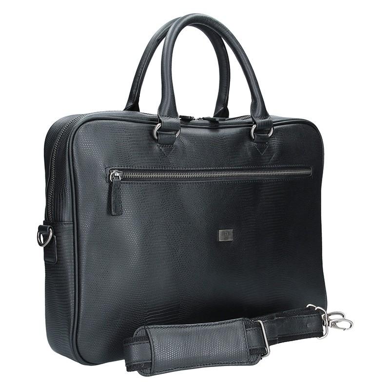 Pánská kožená taška přes rameno Hexagona 854013- černá